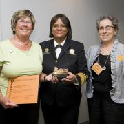 Golden Shoe winner Joyce DiBona with Dr. Regina Benjamin and Wendy Landman