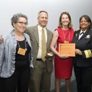 Golden Shoe Award winners from the Harvard Pilgrim Health Care Foundation  with Dr. Regina Benjamin and Wendy Landman