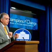 Ray LaHood speaking at the Champions of Change Presentation