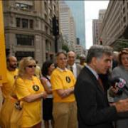 Marci Benson, Ann Hershfang and Mike Dukakis on the Rose Kennedy Greenway walk