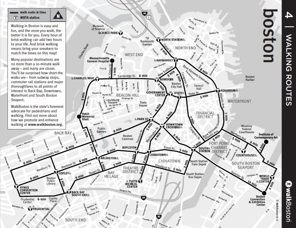 Boston: City Routes and Downtown Map – WalkBoston